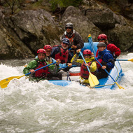 Family river rafting on the Middle Fork